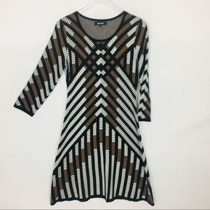 NINE WEST | Geometric Print Sweater Dress